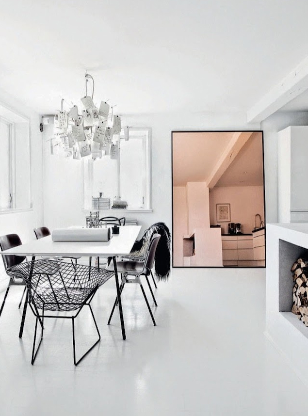 Love how the copper toned mirror warms up this black/white dining area, via fashionsquad.com