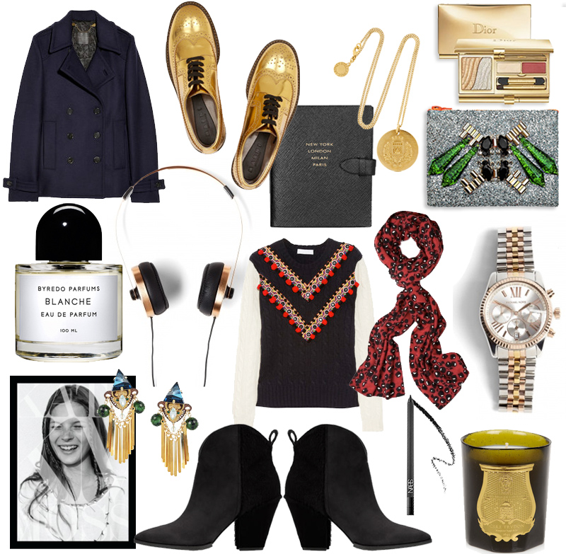 wishlist, byredo, sigerson morrison boots, proenza schouler jacket, cire trudon, mawi clutch, stella mccartney necklace, michael kors watch, kate moss book, nars eyeliner, dior grand bal, marni gold shoes,