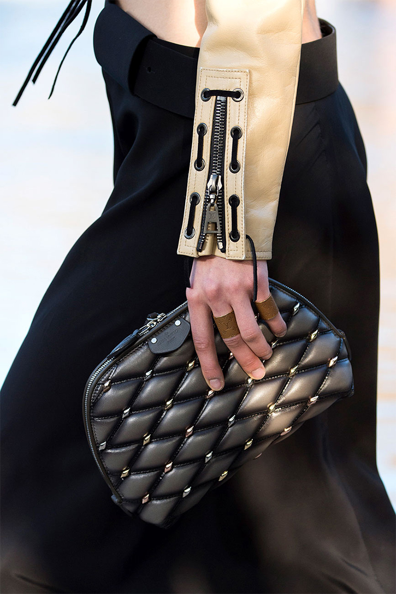 Louis Vuitton Resort 2016, clutch and leather jacket
