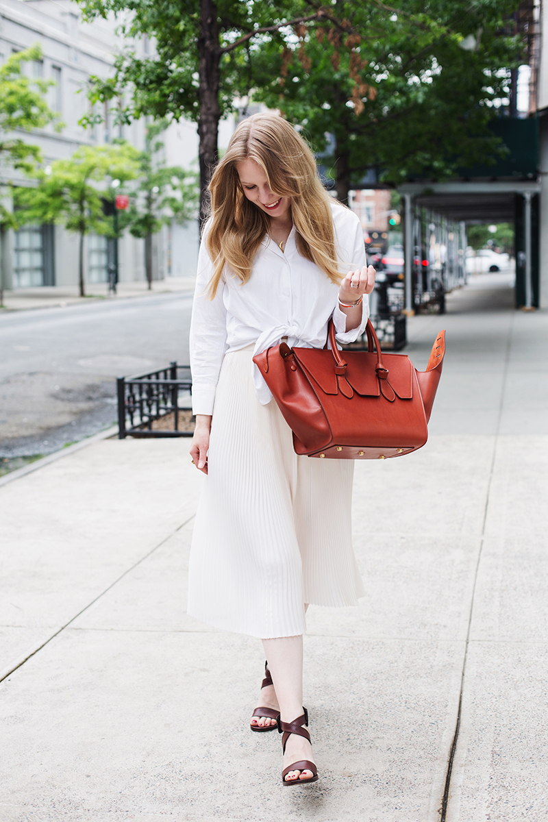 Céline bag + pleated skirt