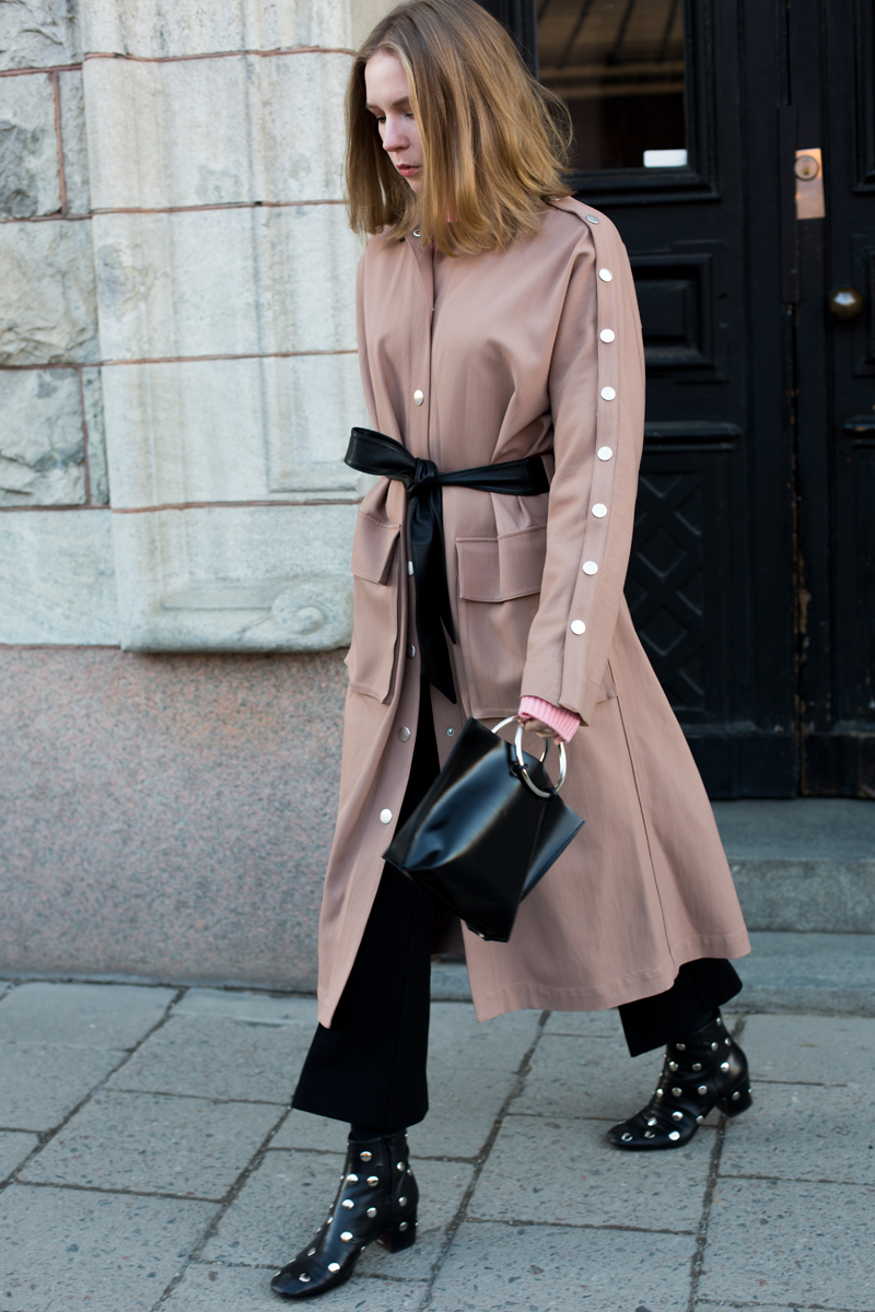 Tibi Trench Coat and Bimba y Lola Boots