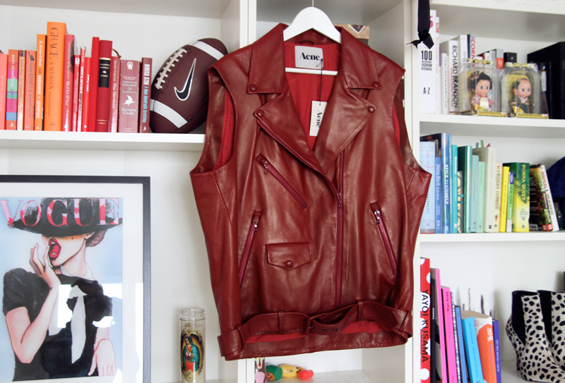 acne, leaher vest, memory, s/s 2010, burgundy