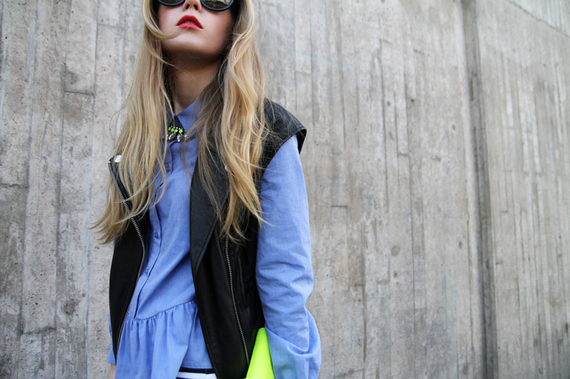 carolina engman, asos peplum blouse, leather vest, werelse neon bag, celine audrey sunglasses
