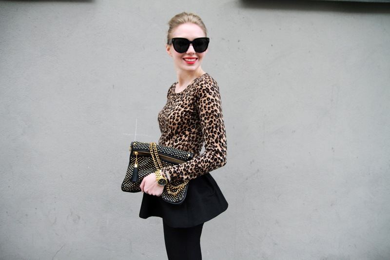 Carolina Engman, Asos peplum skirt, crumpet leopard cashmere top, Celine Audrey Sunglasses, Rebecca Minkoff bag, outfit, how to wear peplum skirt