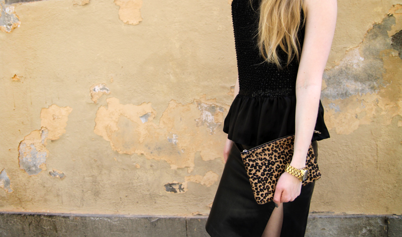 asos peplum top, peplum, leopard clutch, michael kors watch, leather skirt.