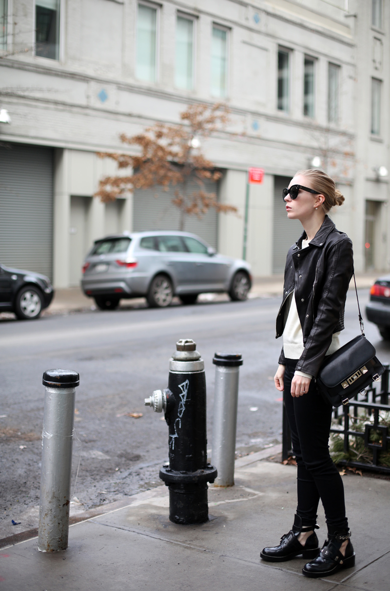 Hunkydory leather jacket and Balenciaga boots via fashionsquad.com