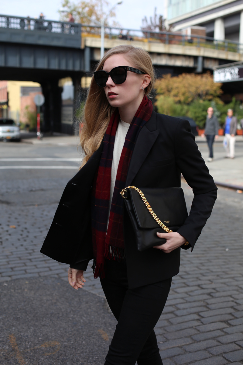 black jacket and tartan scarf via fashionsquad