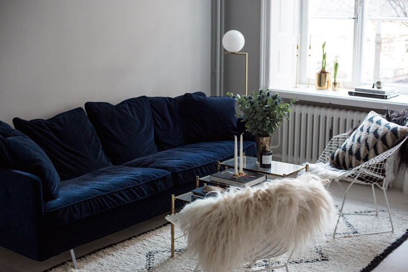 The Perfect Blue Velvet Couch