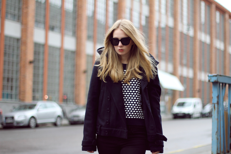 whyred jacket, jbrand jeans, proenza schouler ps11 bag, carolina engman, celine audrey sunglasses, fashionsquad, din sko shoes, madewell polkadot sweater
