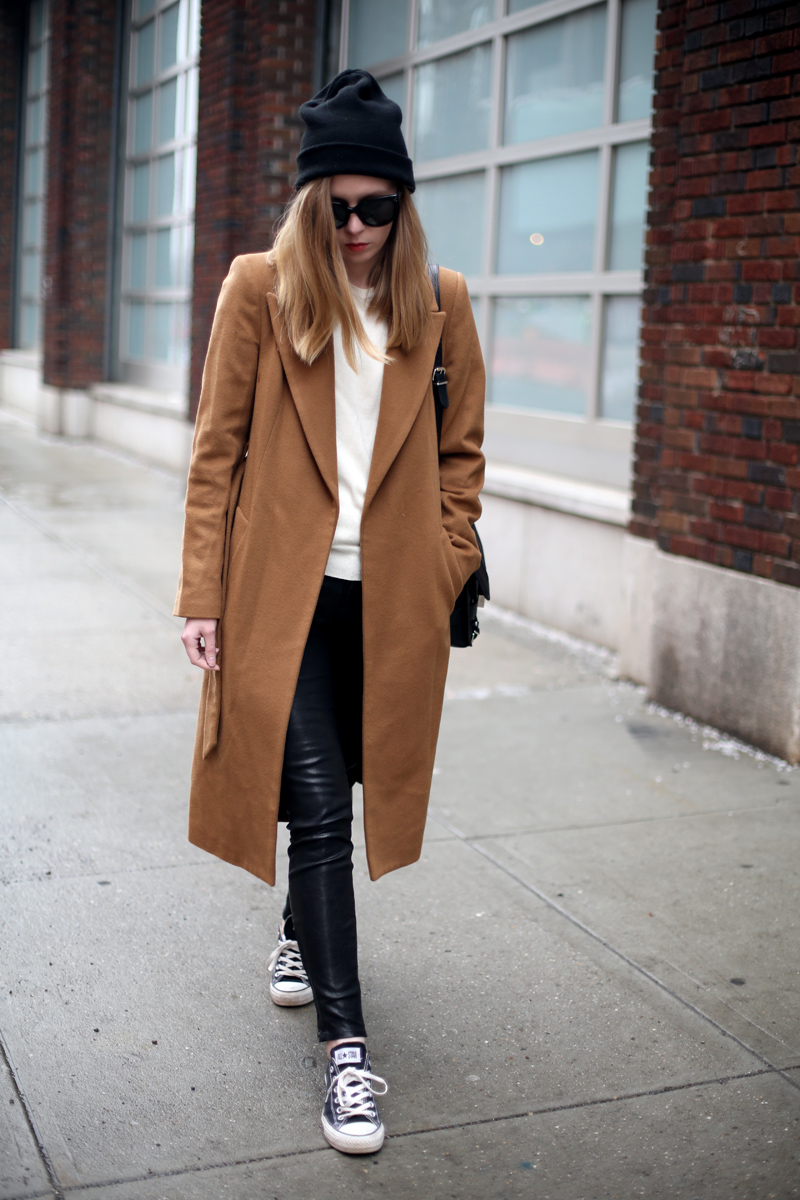 camel coat and leather pants via fashionsquad.com