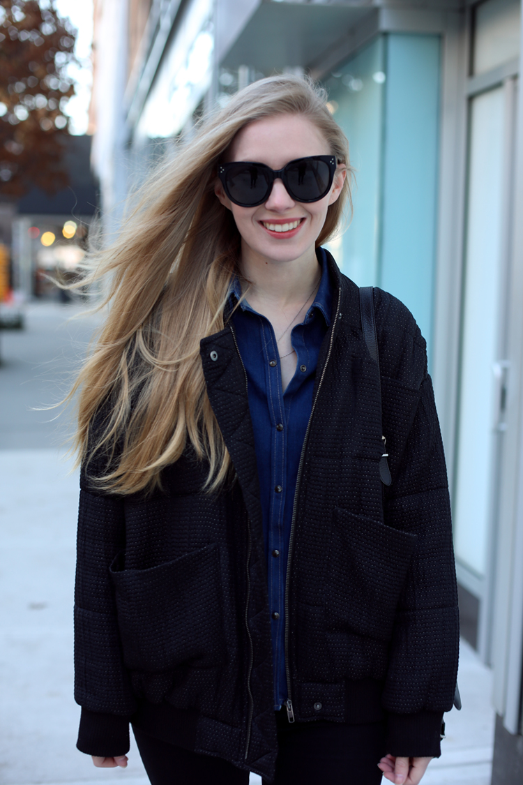bomber jacket & denim shirt | Fashion Squad