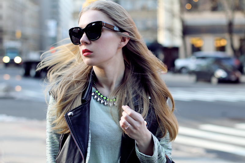 carolina engman, fashionsquad, nyfw, celine audrey sunglasses, h&m neon necklace, mint green, leather vest