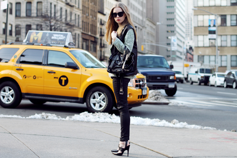 carolina engman, andemiu, new york, fashion week, sigerson morrison, proenza schouler, leather vest, layering, celine