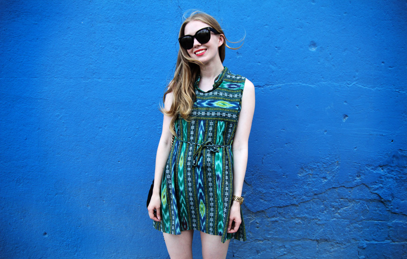 carolina engman, vintage dress, navajo dress, blue green, ceine audrey sunglasses