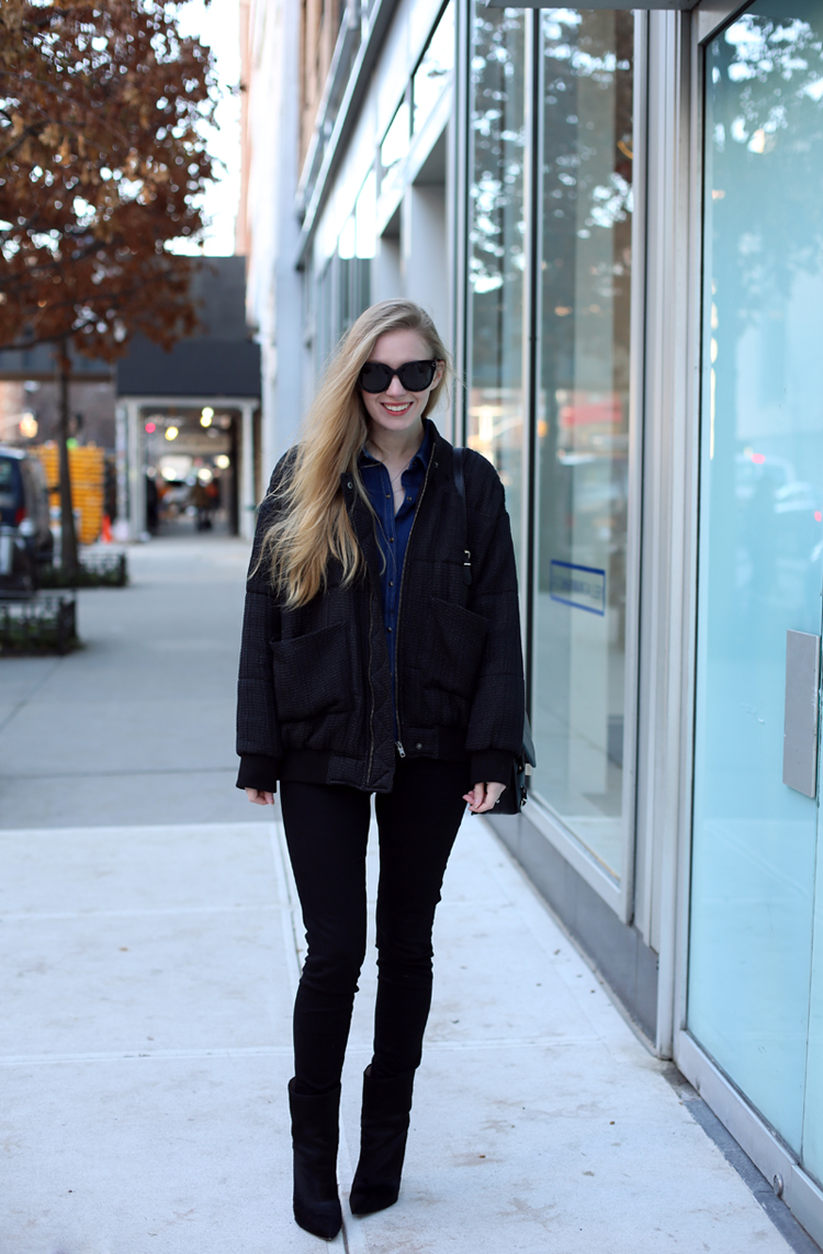 carolina engman - bomber jacket and black skinnies