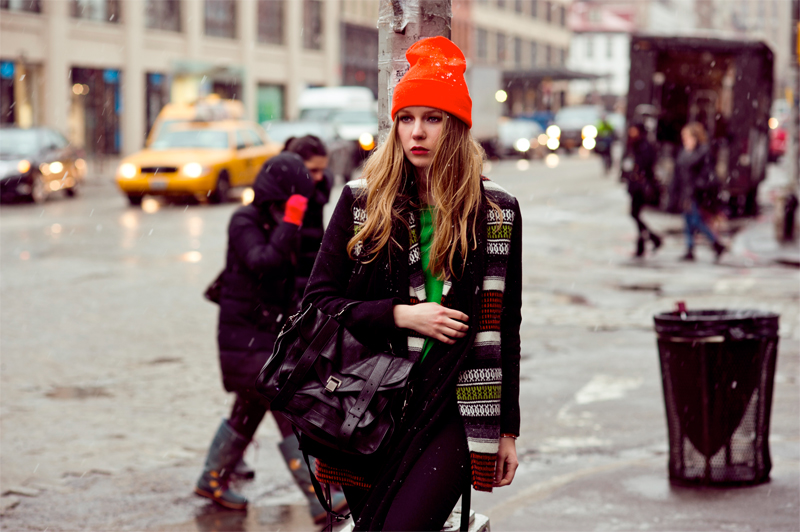 carolina engman, zanita morgan, fashionsquad, maje, american apparel neon beanie, proenza schouler ps1, new york, blizzard,