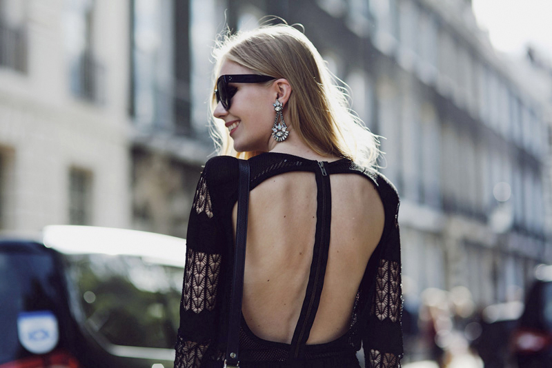 carolina engman, fashionsquad, dagmar, dress, backless, celine audrey sunglasses, elizabeth cole earrings, london, lfw