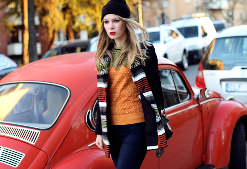 carolina engman, fall color, maje jacket, kenzo sweater, orange beetle