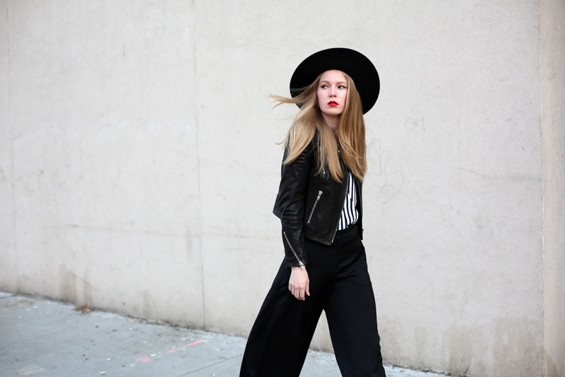 h&m new icons, leather jacket, hat, new york