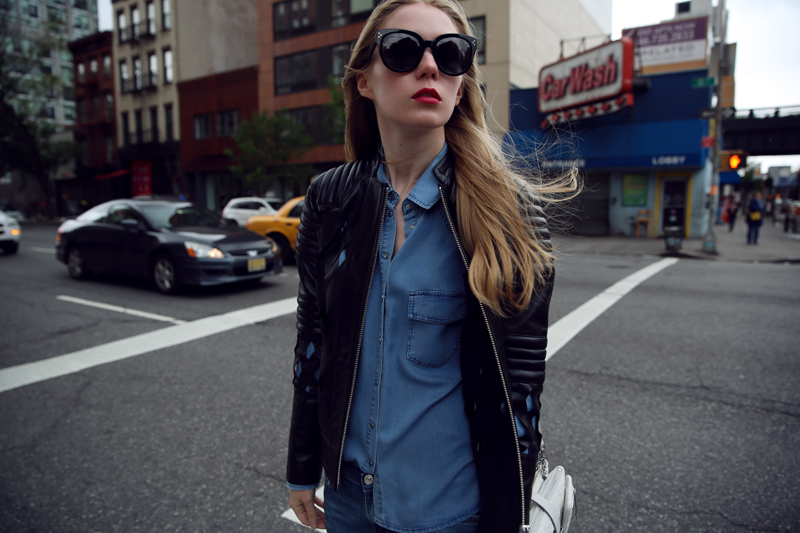carolina engman in johanna pihl leather jacket