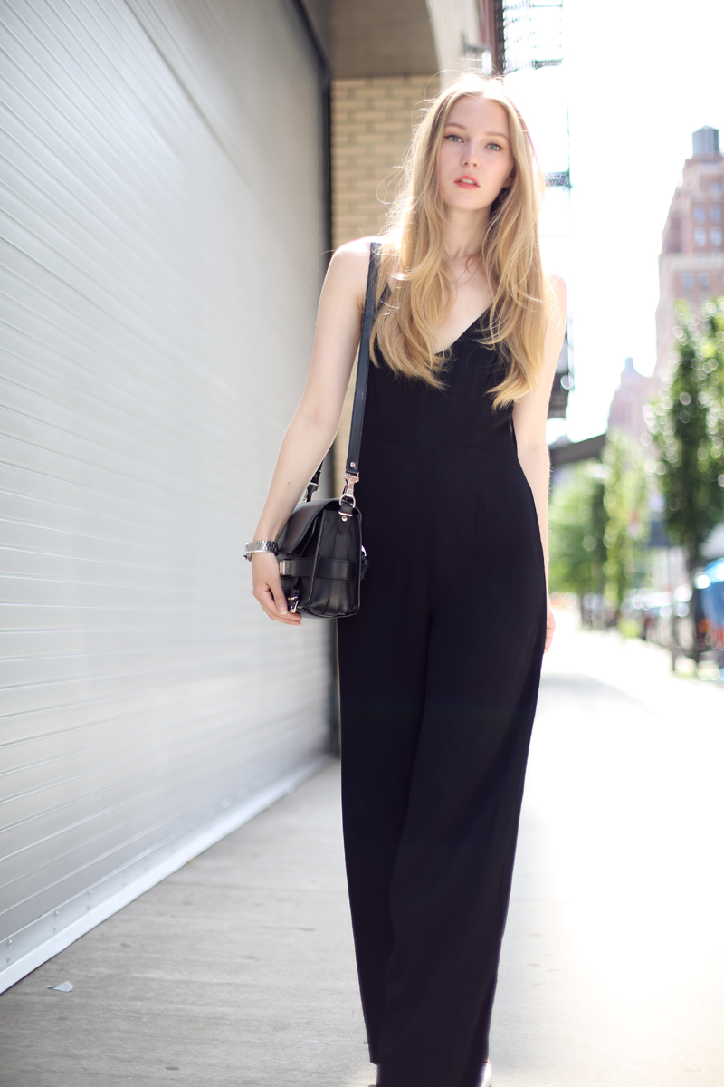carolina engman in line and dot jumpsuit