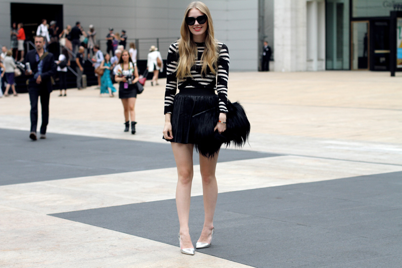 carolina engman, proenza schouler top, leather skirt, fluffy bag, celine audrey sunglasses, silver heels