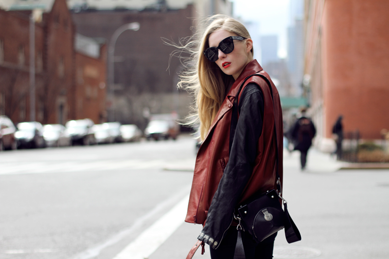 carolina engman, leather, sleeveless, acne, celine audrey sunglasses, kenzo bag