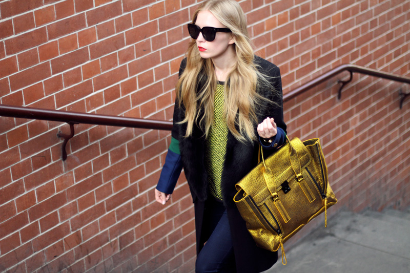 carolina engman, fashionsquad, preen coat, celine audrey sunglasses, london, phillip lim gold pashli,