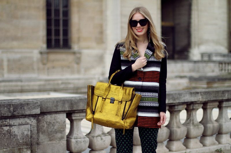 Carolina Engman, paris, fashion week, fashionsquad, Louis vuitton, ss13, phillip lim pashli gold, maje coat, celine sunglasses