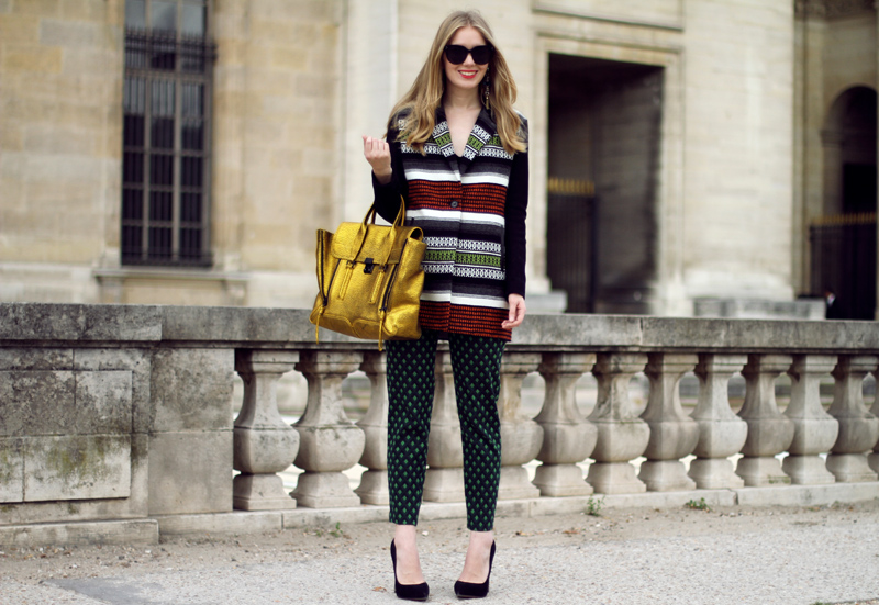Carolina Engman, maje coat, celine audrey sunglasses, 3.1 phillip lim pashli satchel in gold, green zara pants, carvela attack black, pris fashion week streestyle