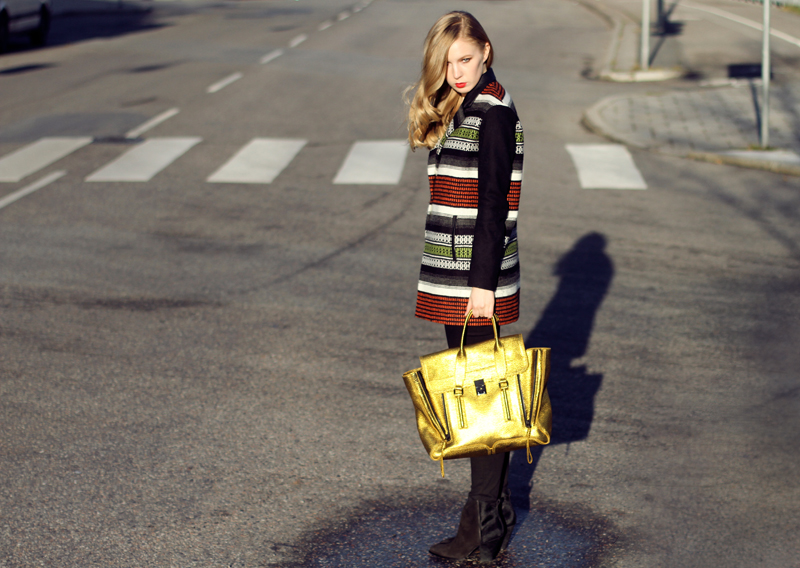 carolina engman, fashionsquad, outfit, maje jacket, jbrand jeans, sigerson morrison boots, phillip lim gold pashli, cos striped sweater
