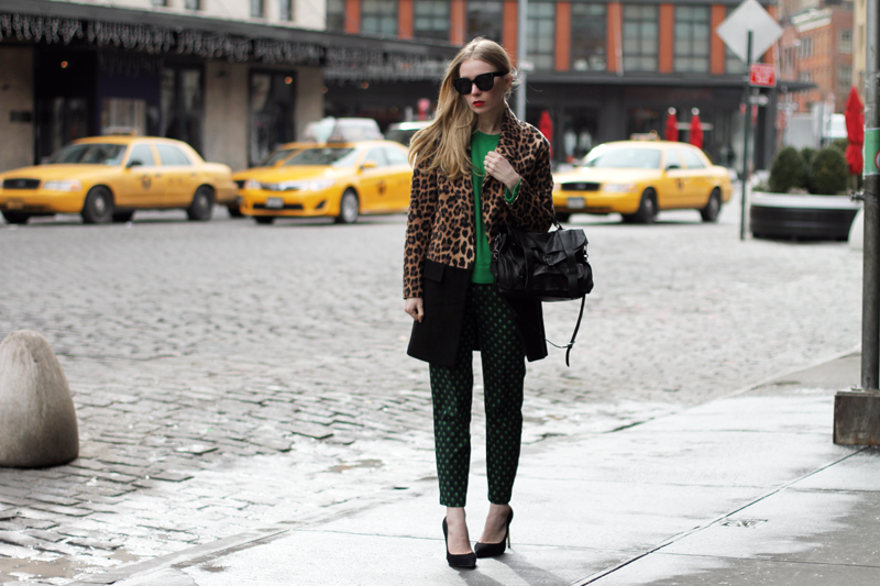 fashionsquad, nyfw, carolina engman, equipment, zara leopard coat, green cashmere sweater, emerald, carvela heels, proenza schouler ps1 black, celine audrey sunglasses