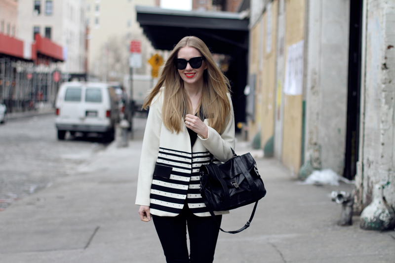 carolina engman, black and white, fashionsquad, nanette lepore, new york, j brand, celine audrey sunglasses, stuart weitzman slipbeads, proenza schouler ps1 medium black