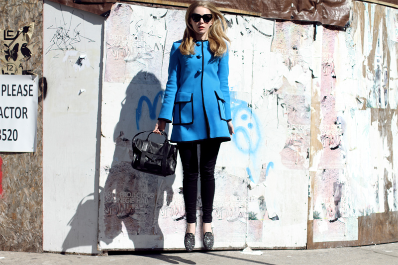 carolina engman, nanette lepore, fashionsquad, coat, new york, proenza schouler ps1 medium black, stuart weitzman, studded loafers, new york