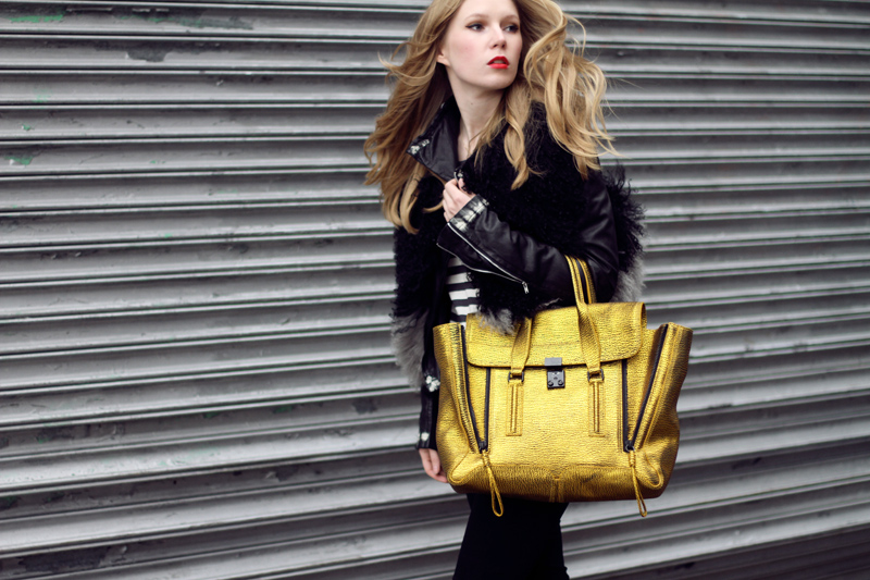 Carolina Engman, Phillip Lim pashli satchel in gold, bird by juicy couture vest, outfit, new york, fashionsquad