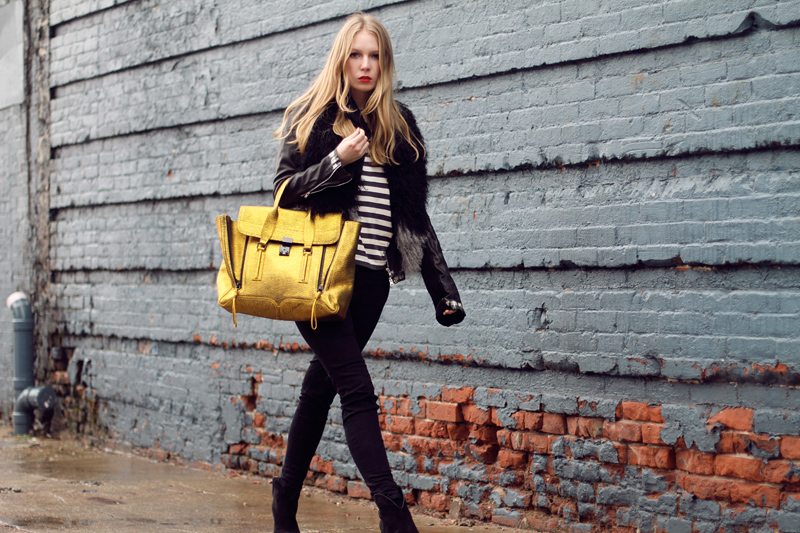 carolina engman, phillip lim pashli satchel gold, new york, fashionsquad, outfit