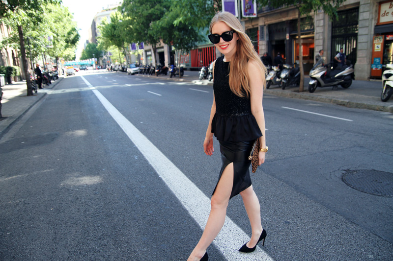 carolina engman, leather skirt, peplum top, carvela attack black, celine audrey sunglasses, leopard clutch, outfit, barcelona