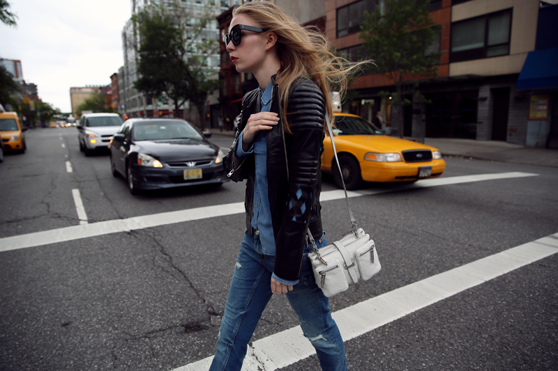 carolina engman - johanna pihl leather jacket theyskens theory bag