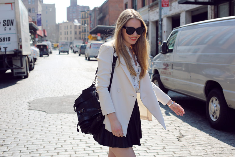 white blazer + leather skirt
