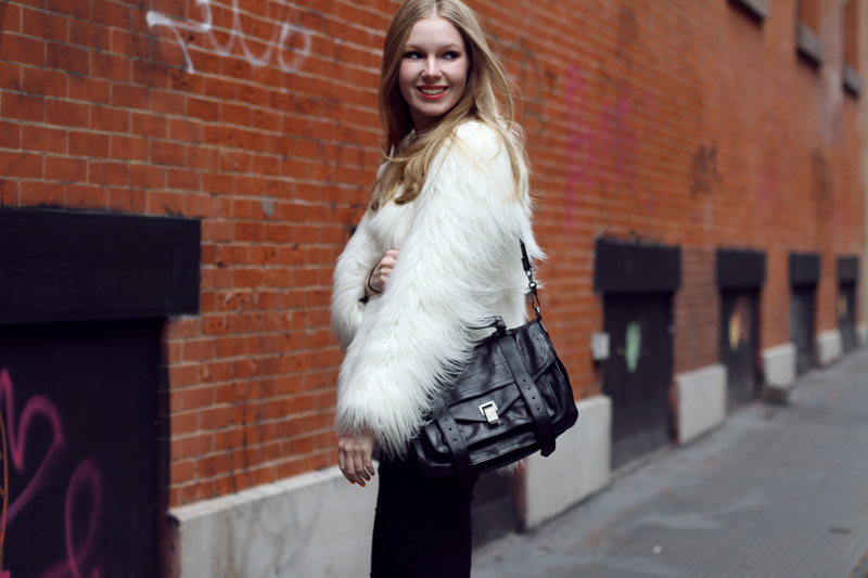 carolina engman, new york, white faux fur, proenza schouler ps1 black, striped top