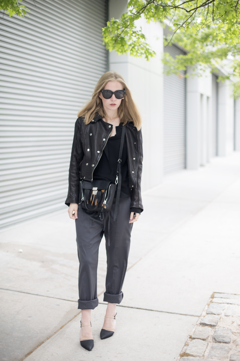 slouchy pants and leather jacket