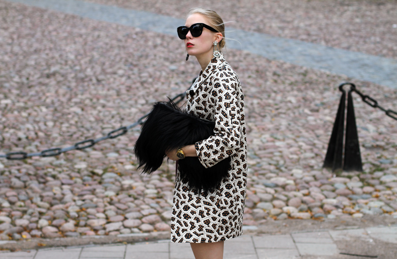 Carolina Engman, Bimba y lola jacket, celine sunglasses, fluffy bag, stockholm fashion week, patterned coat, geo print jacket