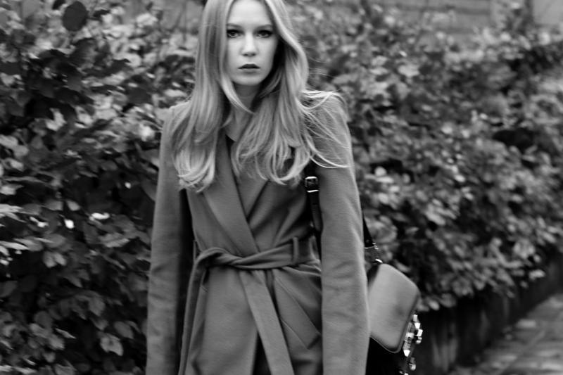 carolina engman, fashionsquad, black & white photography, camel coat, proenza schouler ps11