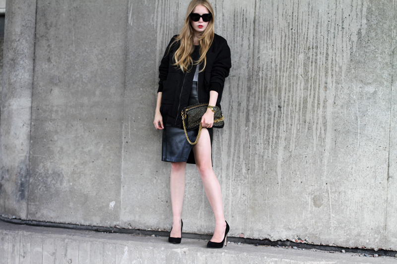 carin wester, bomber jacket, carolina engman, fashionsquad,  celine audrey sunglasses, h&m leather skirt, michael kors watch, carvela kurt geiger attack black, carin wester bombarjacka, rebecca minkoff studded clutch