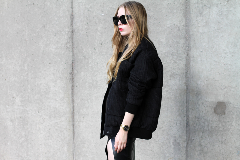 Carolina Engman, carin wester bomber jacket, celine audrey, leather skirt, michael kors gold watch