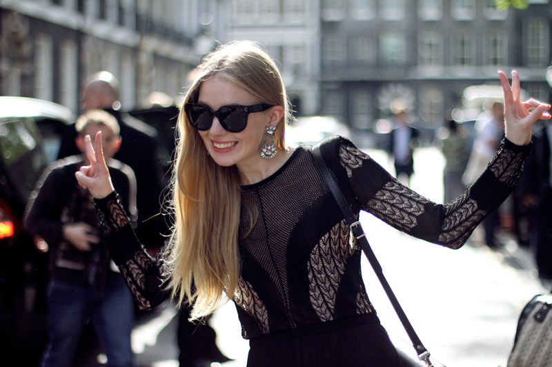carolina engman, dagmar dress, celine audrey sunglasses, london, lfw, elizabeth cole earrings