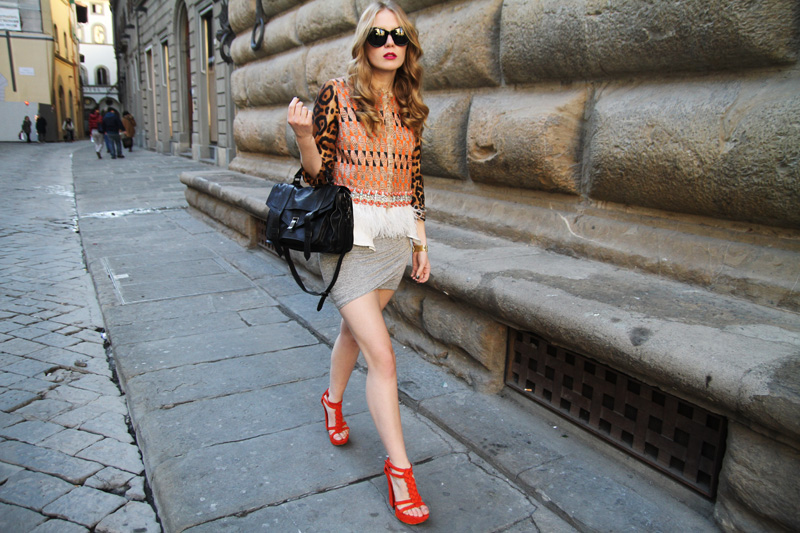 carolina engman, giambattista valli orange jacket, black proenza schouler ps1 bag, t by alexander wang jrsey skirt, orange casadei sandals, celine audrey sunglasses, outfit, forenze 4-ever