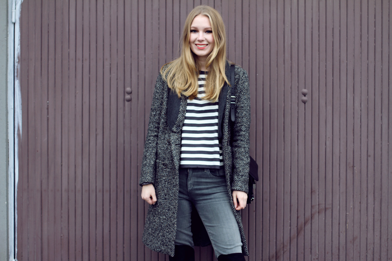 carolina engman, fashionsquad, asos coat, striped sweater, cos, botkier, proenza schouler ps11 black, goldsign jeans, everyday outfit
