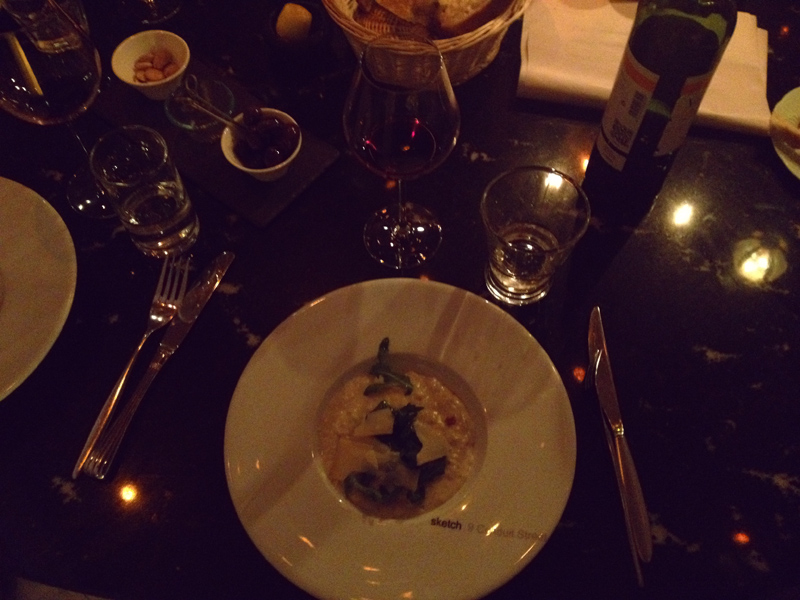 sketch, dinner, risotto, london