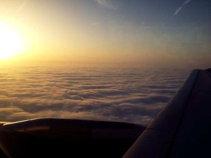 clouds, view from a plane, sunrise